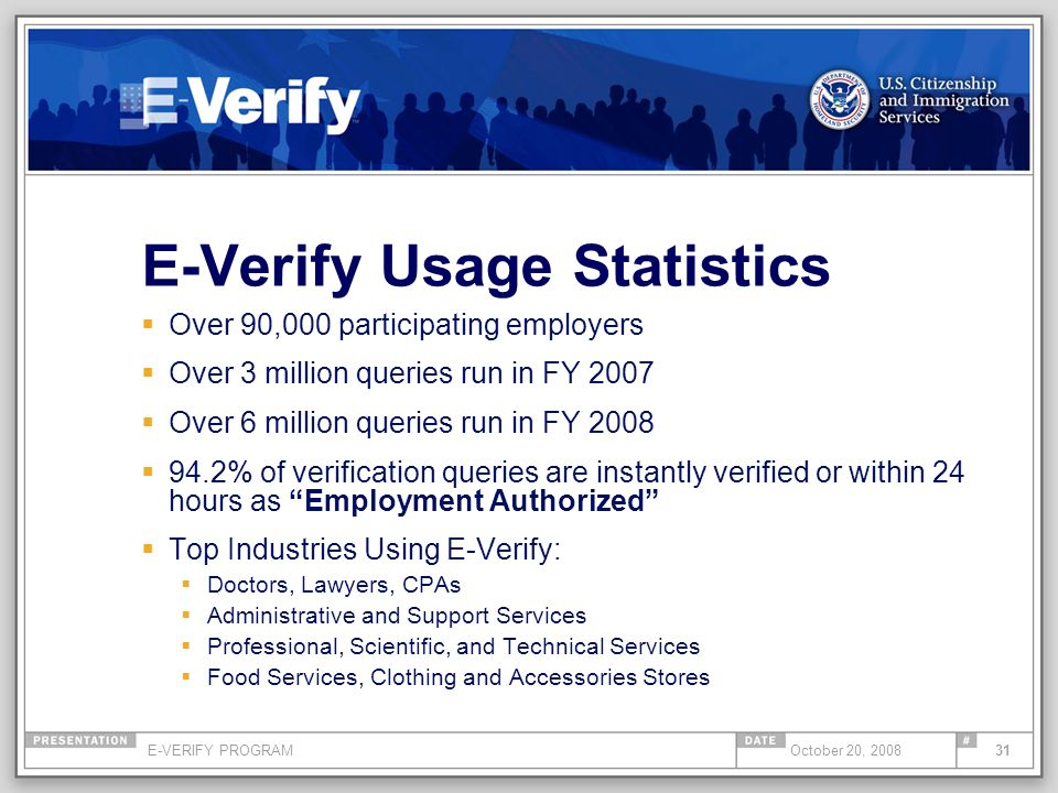 E-VERIFY PROGRAM31October 20, 2008 E-Verify Usage Statistics Over 90,000 participating employers Over 3 million queries run in FY 2007 Over 6 million