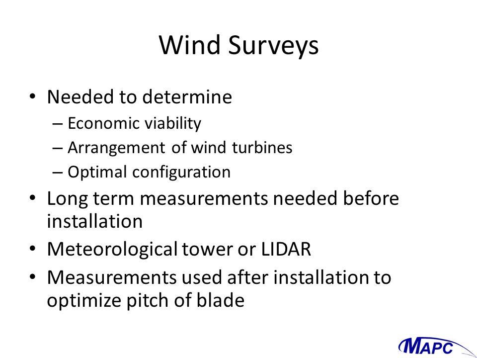 Wind Surveys Needed to determine – Economic viability – Arrangement of wind turbines – Optimal configuration Long term measurements needed before inst