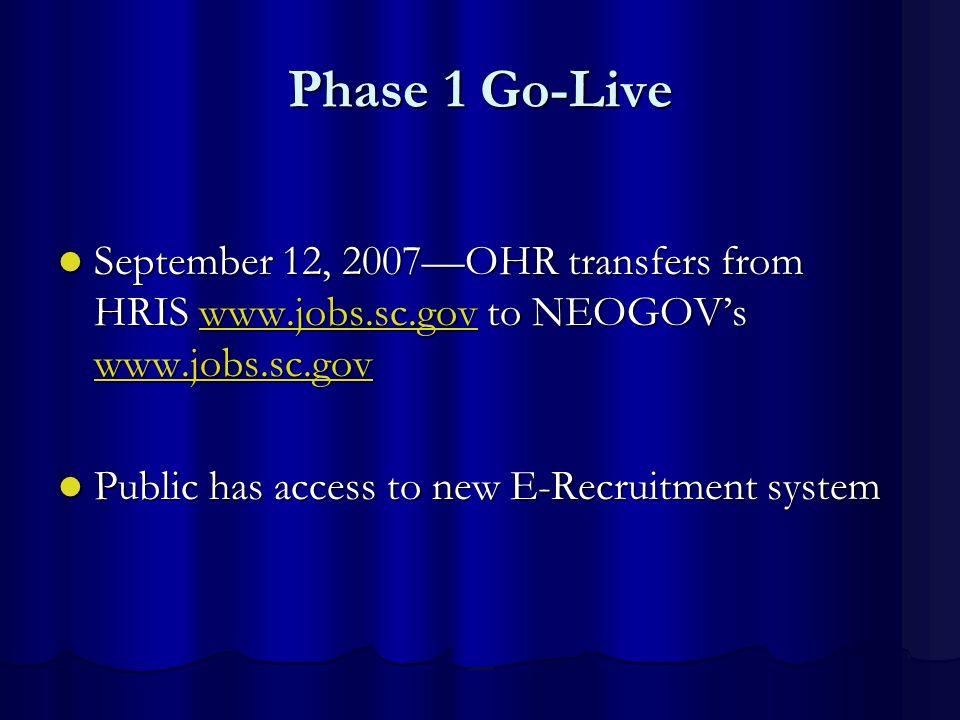 Phase 1 Go-Live September 12, 2007OHR transfers from HRIS www.jobs.sc.gov to NEOGOVs www.jobs.sc.gov September 12, 2007OHR transfers from HRIS www.job