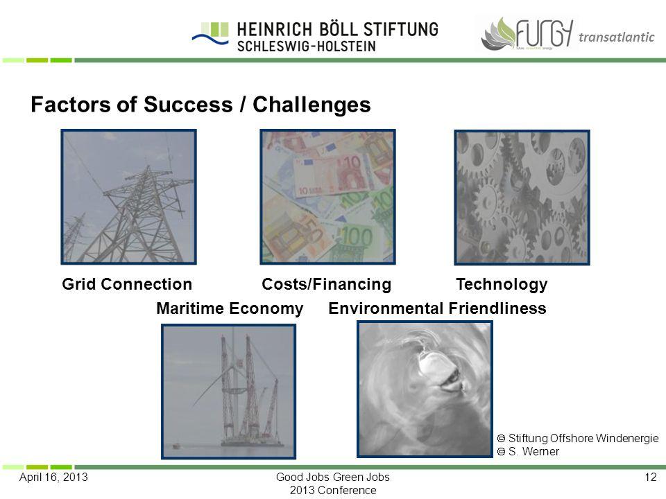 transatlantic April 16, 2013Good Jobs Green Jobs 2013 Conference 12 Factors of Success / Challenges Grid ConnectionCosts/Financing Technology Maritime