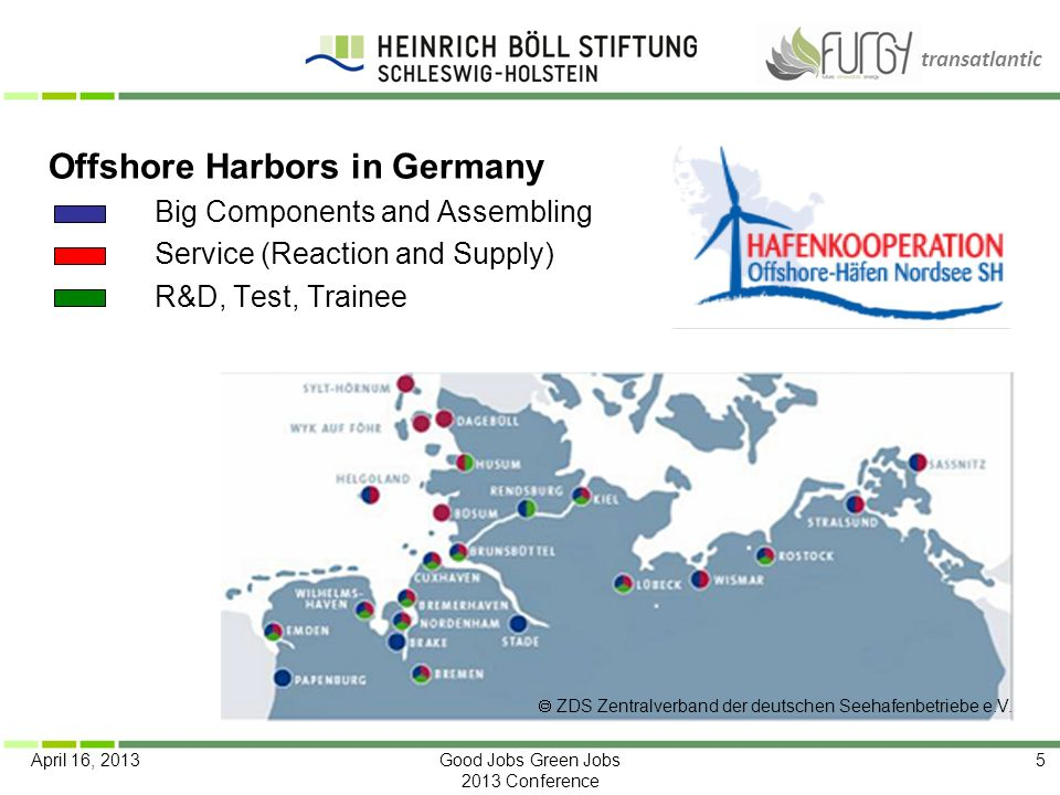 transatlantic April 16, 2013Good Jobs Green Jobs 2013 Conference 5 Offshore Harbors in Germany Big Components and Assembling Service (Reaction and Sup
