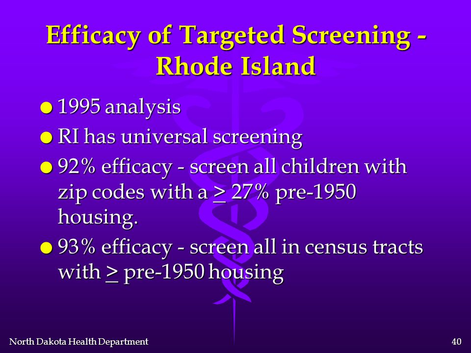 North Dakota Health Department 39 Basic Targeted Screening - CDC l Resides in zip code area where > 27% of the housing was built 27% of the housing was built < 1950 l Receives public health assistance (e.g.