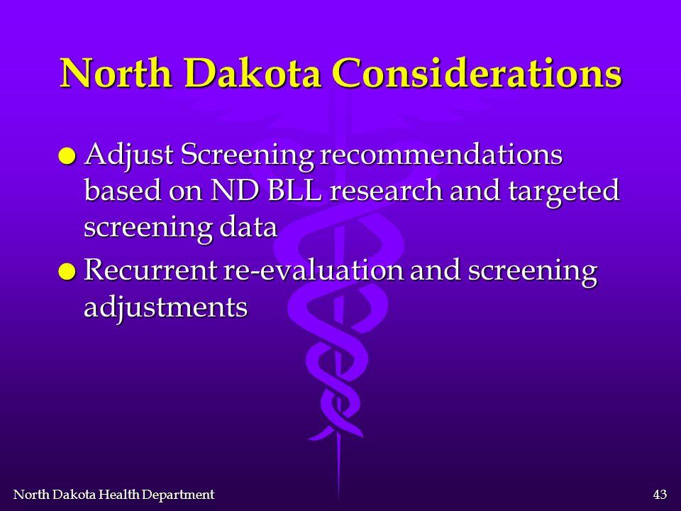 North Dakota Health Department 42 North Dakota Considerations l Initial Screening Plan –Basic Targeted Screening (e.g.