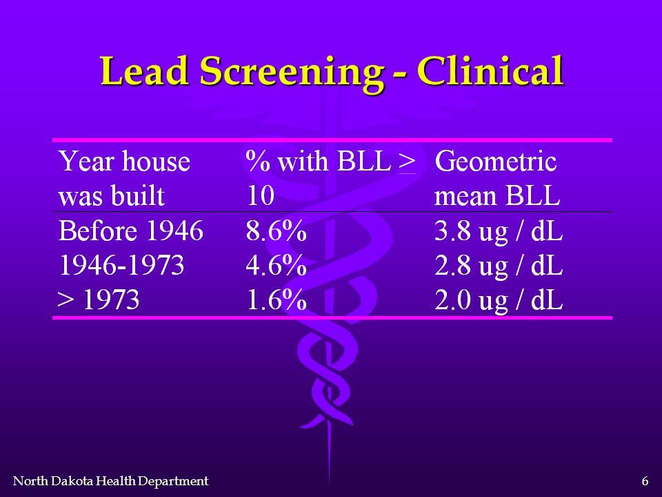 North Dakota Health Department 5 Lead Screening - Clinical