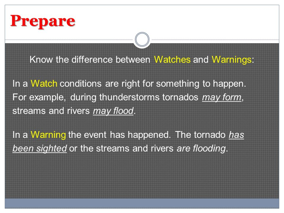 Prepare Know the difference between Watches and Warnings: In a Watch conditions are right for something to happen.