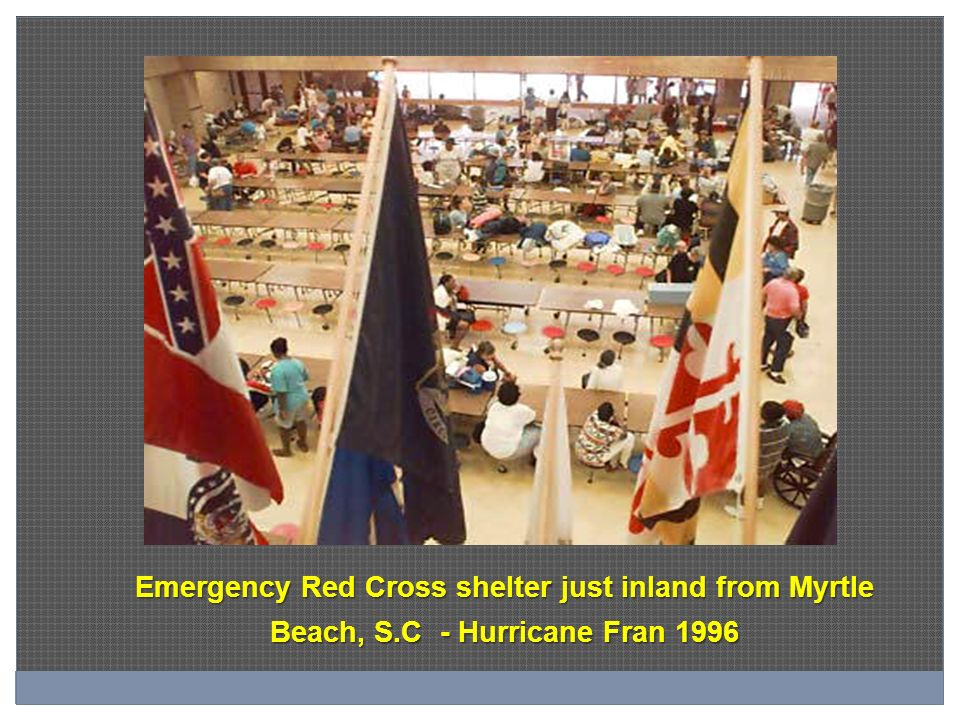 Emergency Red Cross shelter just inland from Myrtle Beach, S.C - Hurricane Fran 1996