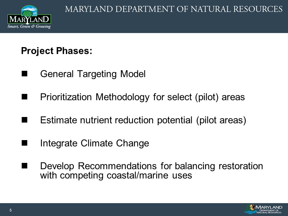 5 Project Phases: General Targeting Model Prioritization Methodology for select (pilot) areas Estimate nutrient reduction potential (pilot areas) Inte