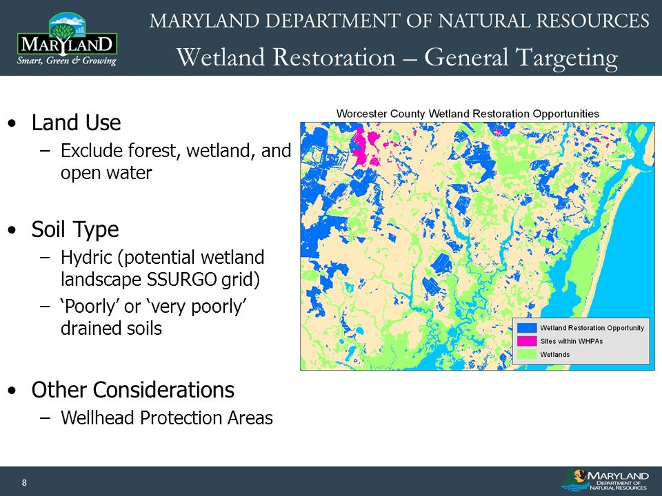 8 Wetland Restoration – General Targeting Land Use –Exclude forest, wetland, and open water Soil Type –Hydric (potential wetland landscape SSURGO grid