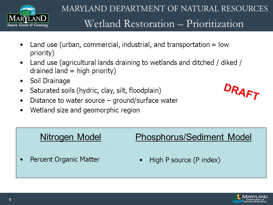 9 Wetland Restoration – Prioritization Land use (urban, commercial, industrial, and transportation = low priority) Land use (agricultural lands draini