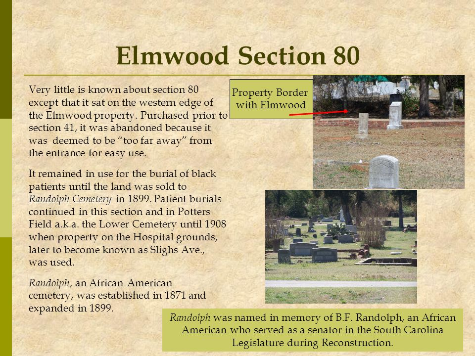Elmwood Section 80 Very little is known about section 80 except that it sat on the western edge of the Elmwood property. Purchased prior to section 41