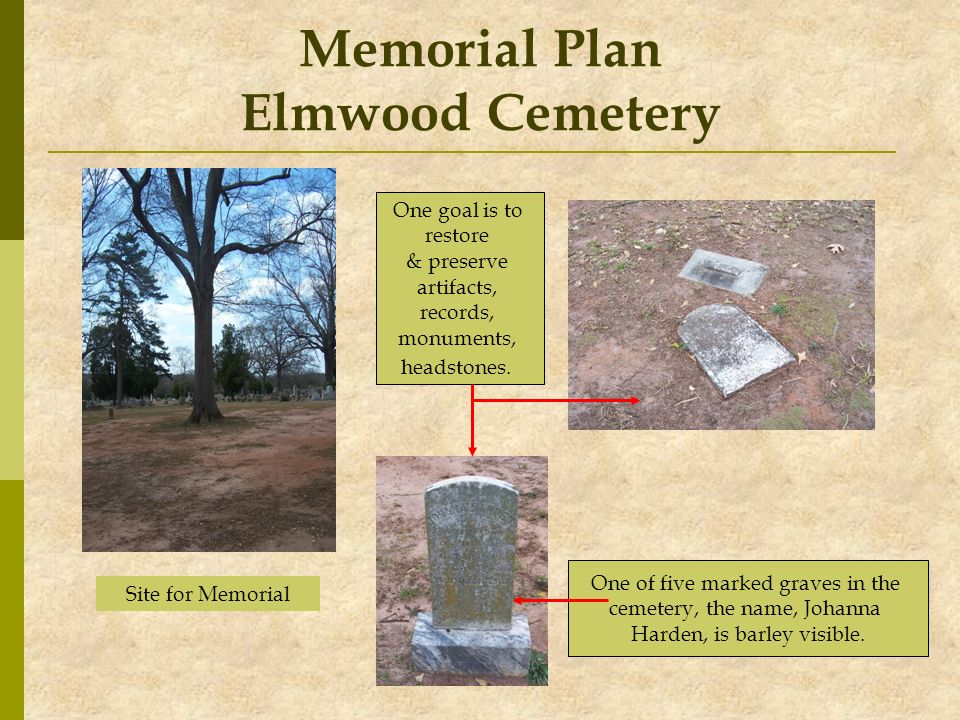 Memorial Plan Elmwood Cemetery Site for Memorial One of five marked graves in the cemetery, the name, Johanna Harden, is barley visible. One goal is t