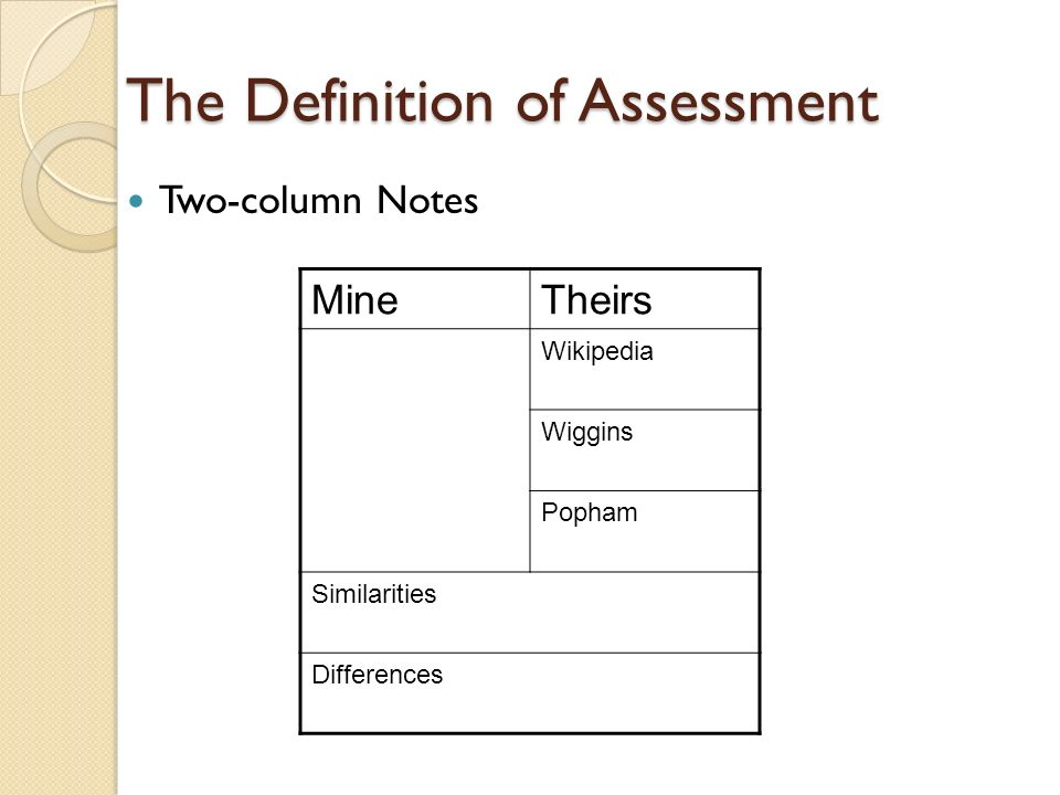 The Definition of Assessment Two-column Notes MineTheirs Wikipedia Wiggins Popham Similarities Differences