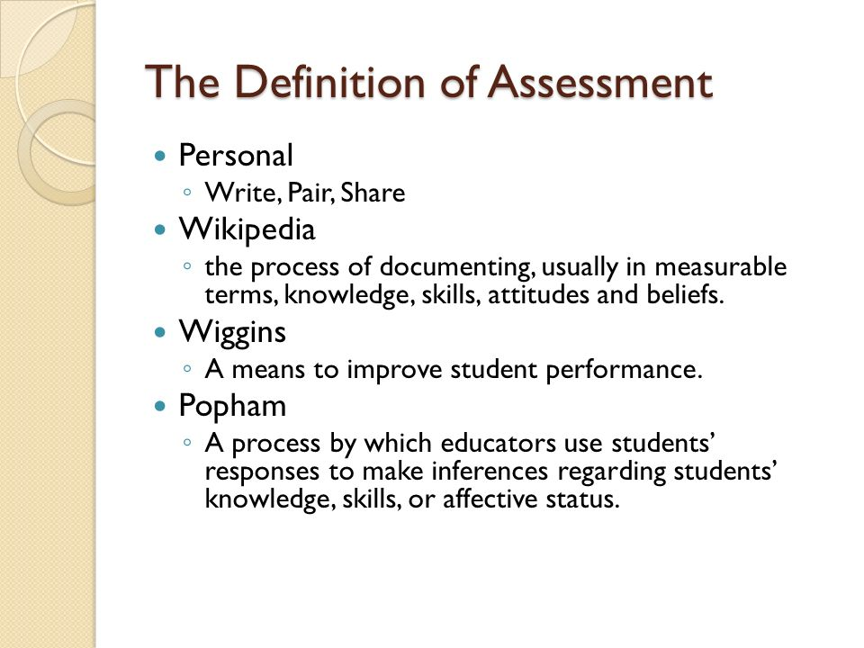The Definition of Assessment Personal Write, Pair, Share Wikipedia the process of documenting, usually in measurable terms, knowledge, skills, attitudes and beliefs.