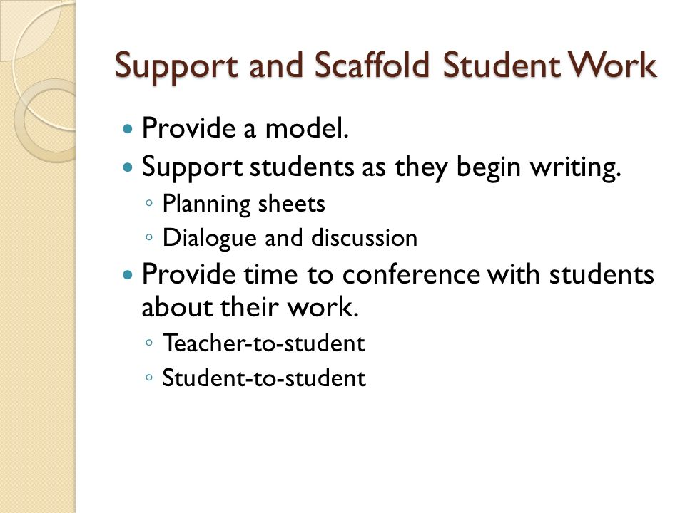 Support and Scaffold Student Work Provide a model.