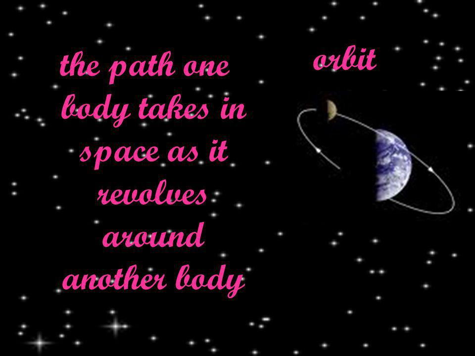 orbit the path one body takes in space as it revolves around another body