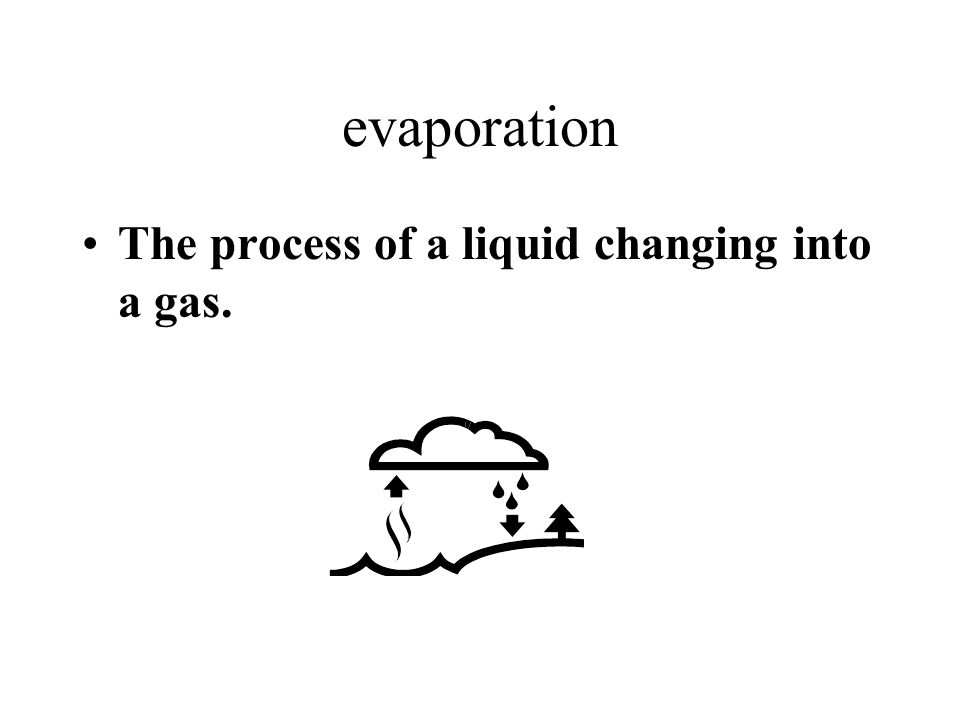 evaporation The process of a liquid changing into a gas.