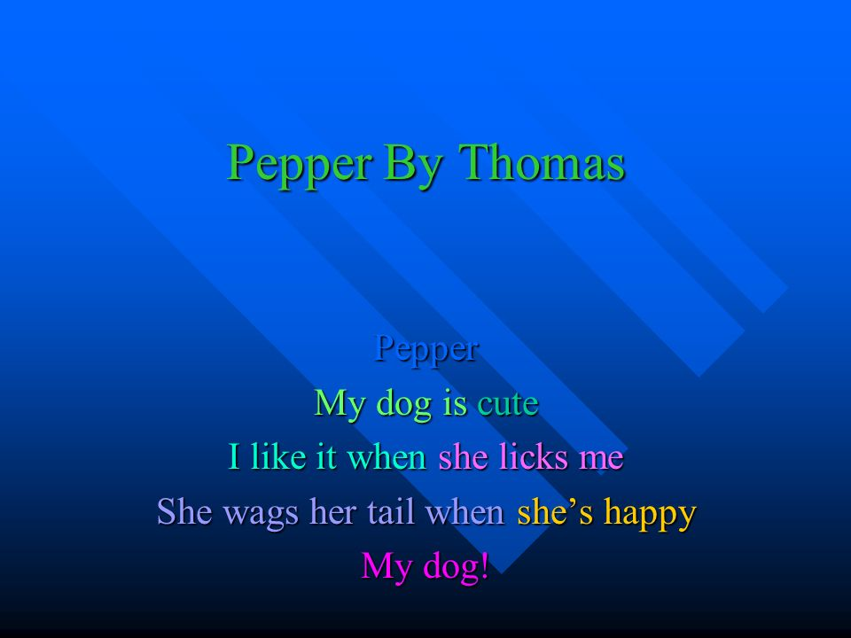 Pepper By Thomas Pepper My dog is cute I like it when she licks me She wags her tail when shes happy My dog!