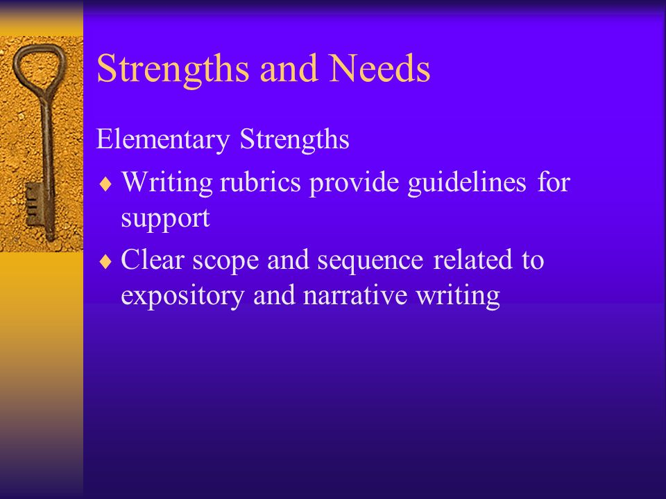 Strengths and Needs Elementary Strengths Writing rubrics provide guidelines for support Clear scope and sequence related to expository and narrative w