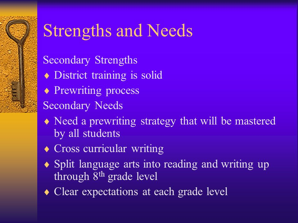 Strengths and Needs Secondary Strengths District training is solid Prewriting process Secondary Needs Need a prewriting strategy that will be mastered