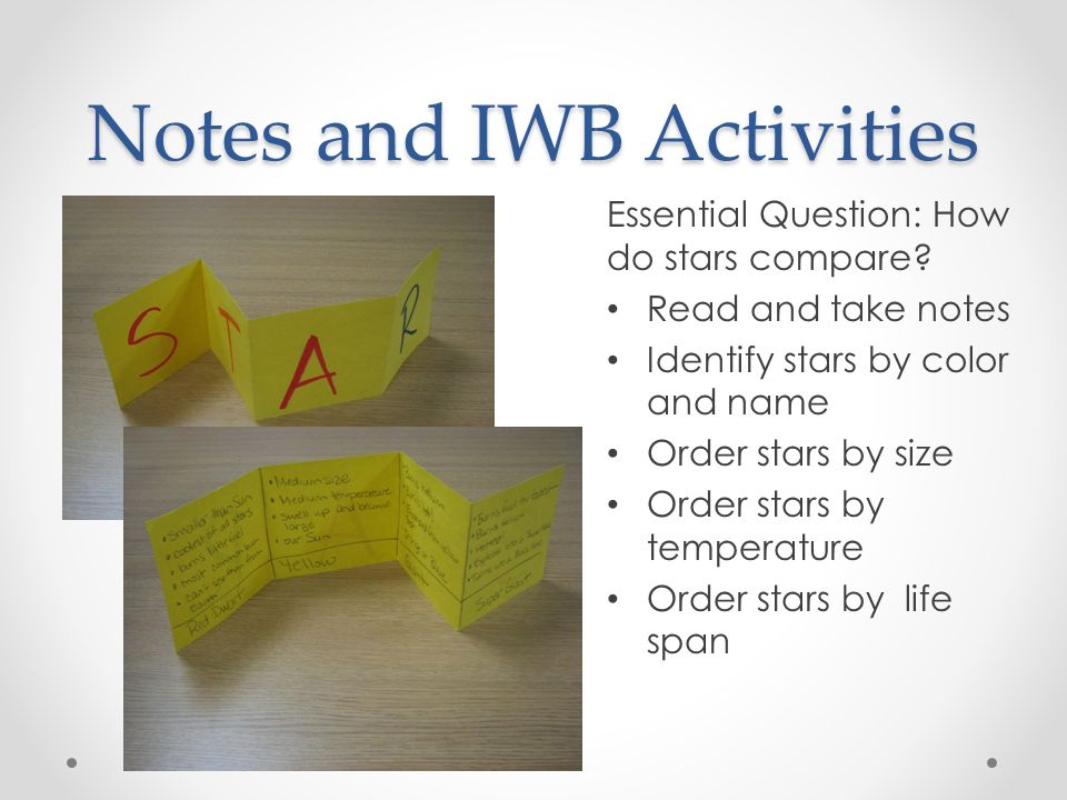 Notes and IWB Activities Essential Question: How do stars compare.