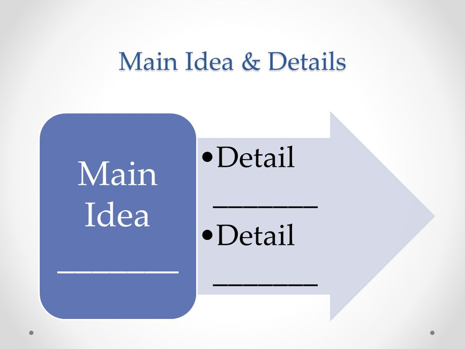 Main Idea & Details Detail _______ Main Idea _______