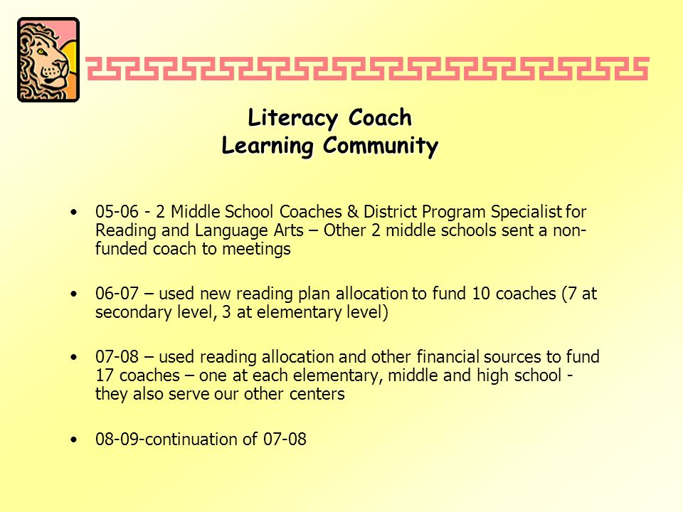 Literacy Coach Learning Community 05-06 - 2 Middle School Coaches & District Program Specialist for Reading and Language Arts – Other 2 middle schools