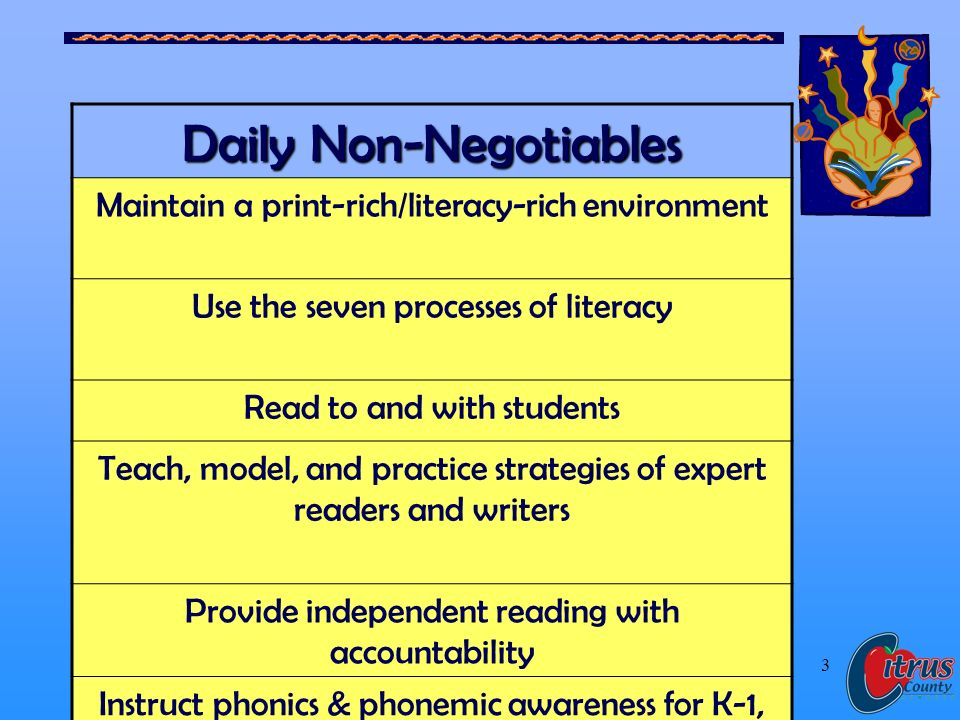 Citrus County Schools, Florida 3 Daily Non-Negotiables Maintain a print-rich/literacy-rich environment Use the seven processes of literacy Read to and with students Teach, model, and practice strategies of expert readers and writers Provide independent reading with accountability Instruct phonics & phonemic awareness for K-1, and for others who have not reached mastery.