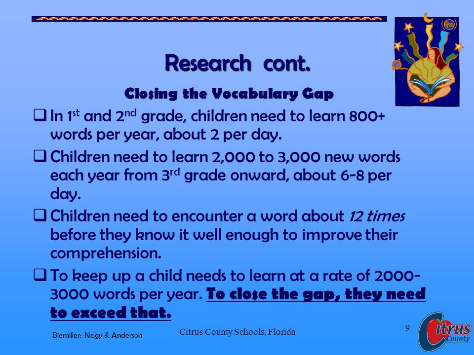 Citrus County Schools, Florida 9 Research cont. Closing the Vocabulary Gap In 1 st and 2 nd grade, children need to learn 800+ words per year, about 2