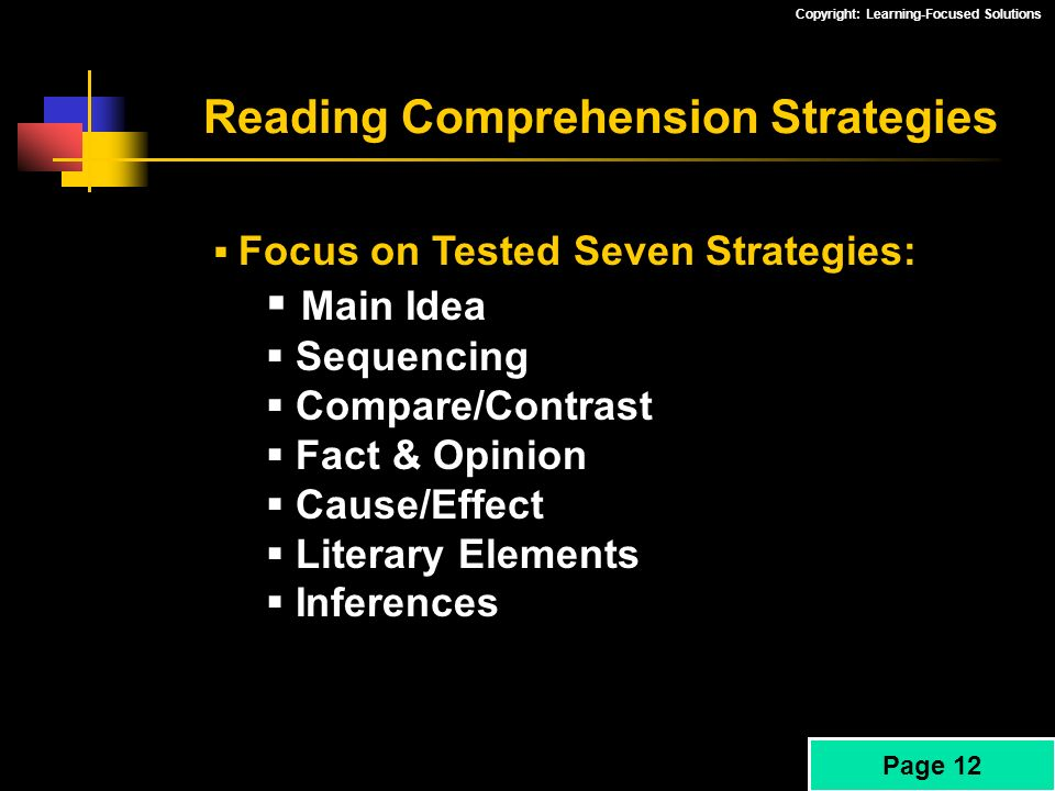 Copyright: Learning-Focused Solutions Reading Comprehension Strategies Focus on Tested Seven Strategies: Main Idea Sequencing Compare/Contrast Fact &