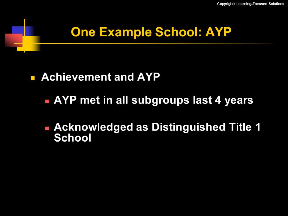 Copyright: Learning-Focused Solutions Achievement and AYP AYP met in all subgroups last 4 years Acknowledged as Distinguished Title 1 School One Examp