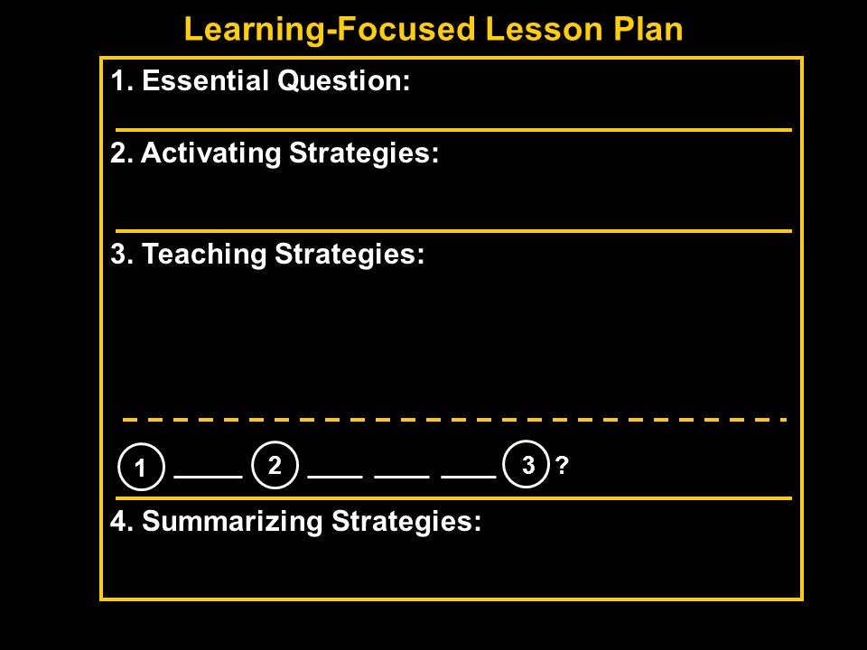 Learning-Focused Lesson Plan 1. Essential Question: 2. Activating Strategies: 3. Teaching Strategies: 4. Summarizing Strategies: 1 _____ 2 ____ ____ _