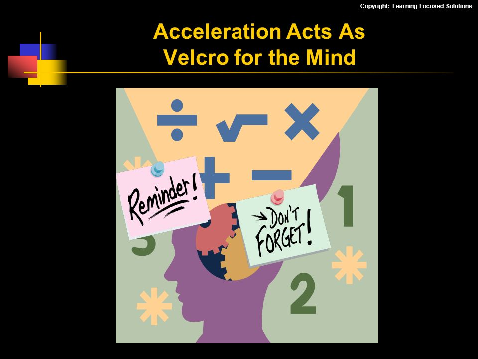 Copyright: Learning-Focused Solutions Acceleration Acts As Velcro for the Mind
