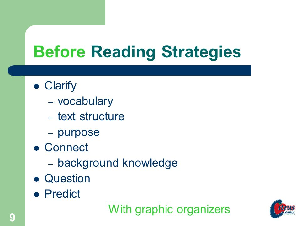8 This is the framework… Before Reading During Reading After Reading