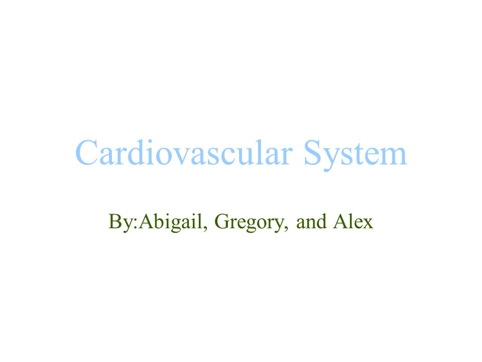 Cardiovascular System By:Abigail, Gregory, and Alex
