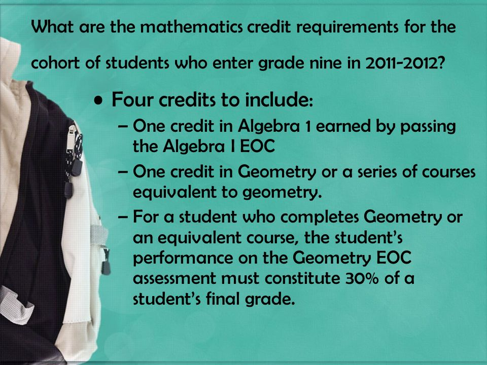 What are the mathematics credit requirements for the cohort of students who enter grade nine in 2011-2012.