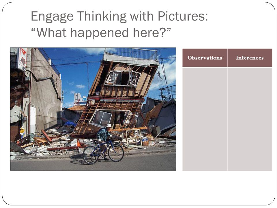 Engage Thinking with Pictures: What happened here? ObservationsInferences