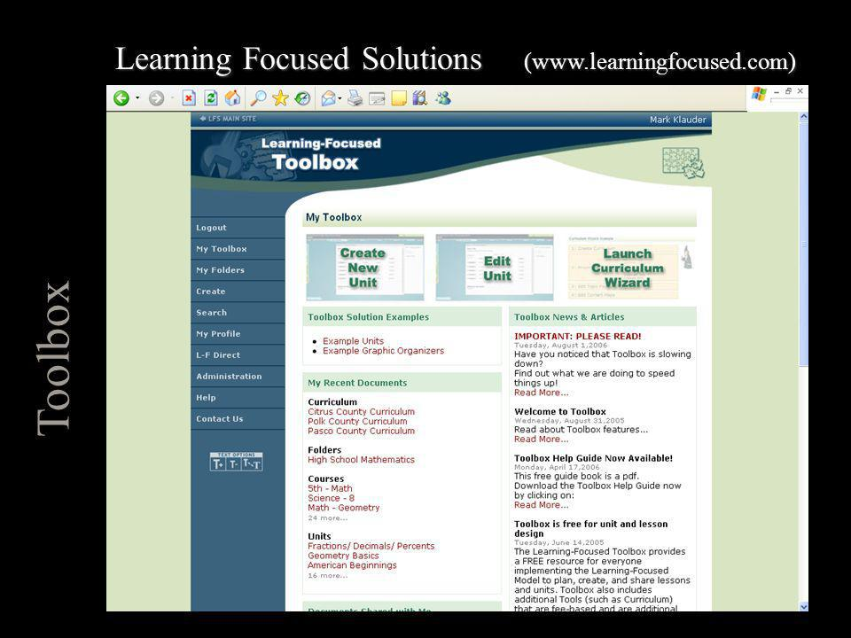Toolbox Learning Focused Solutions (www.learningfocused.com)