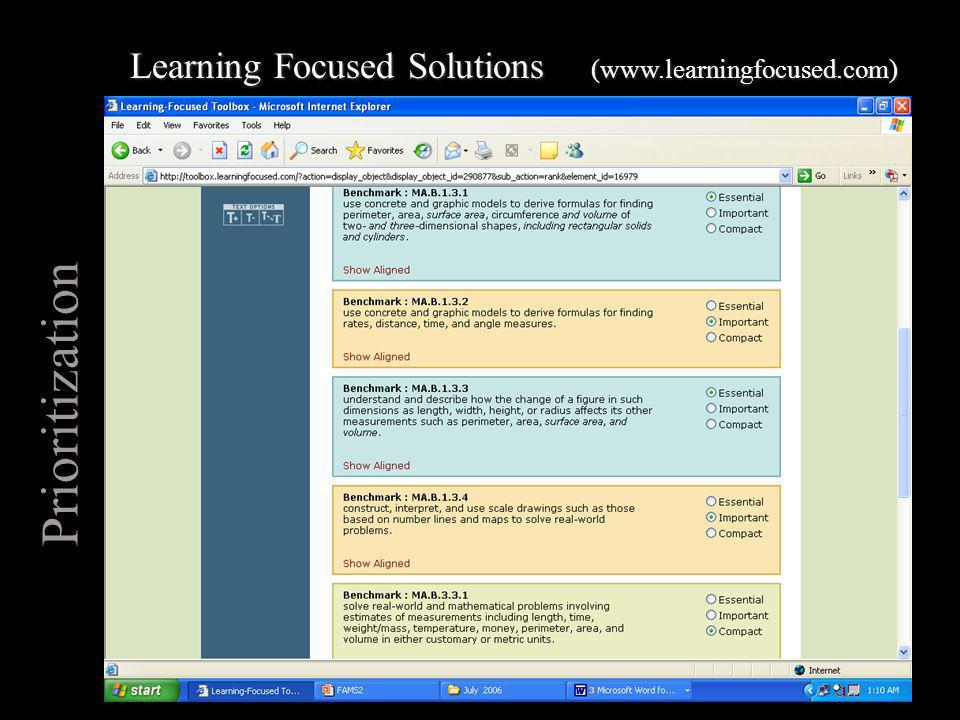 Prioritization Learning Focused Solutions (www.learningfocused.com)