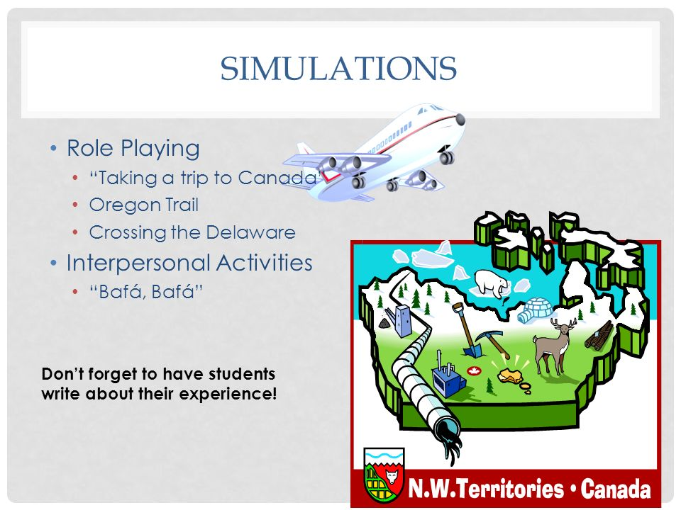 SIMULATIONS Role Playing Taking a trip to Canada Oregon Trail Crossing the Delaware Interpersonal Activities Bafá, Bafá Dont forget to have students w