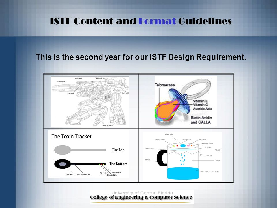 ISTF Content and Format Guidelines This is the second year for our ISTF Design Requirement.