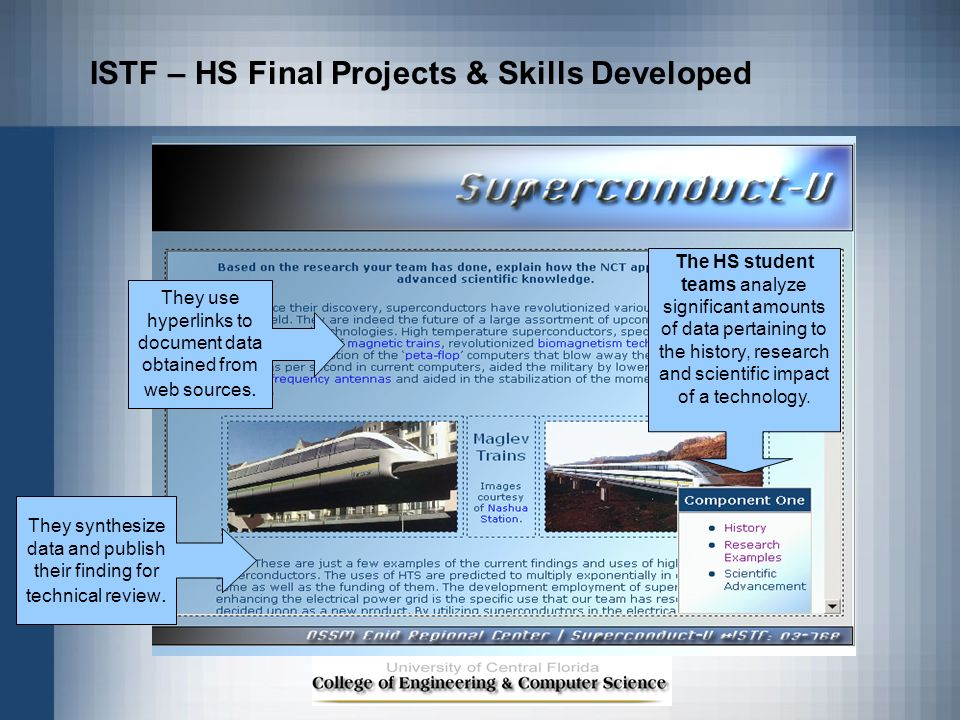 ISTF – HS Final Projects & Skills Developed The HS student teams analyze significant amounts of data pertaining to the history, research and scientifi