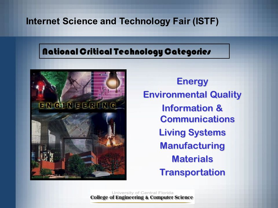 Energy Environmental Quality Information & Communications Living Systems ManufacturingMaterialsTransportation National Critical Technology Categories