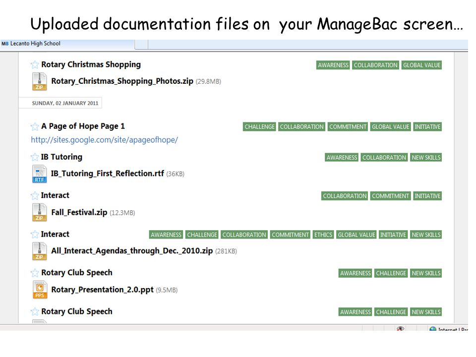 Uploaded documentation files on your ManageBac screen…