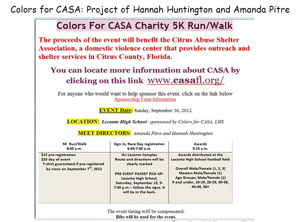 Colors for CASA: Project of Hannah Huntington and Amanda Pitre