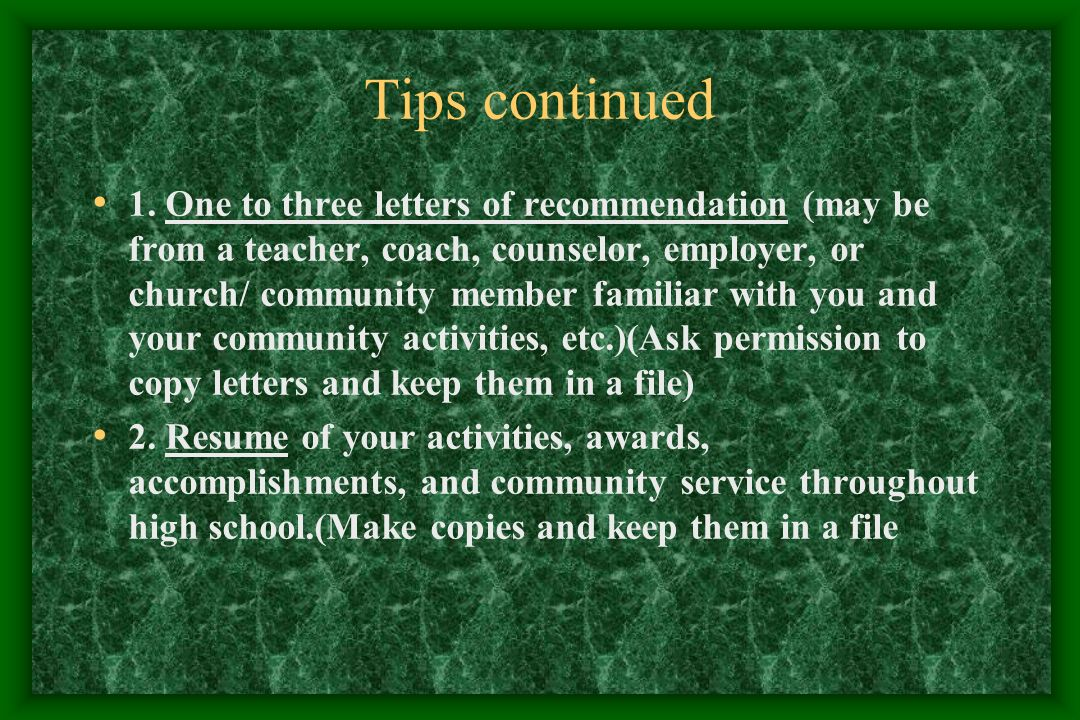 Tips continued 1.