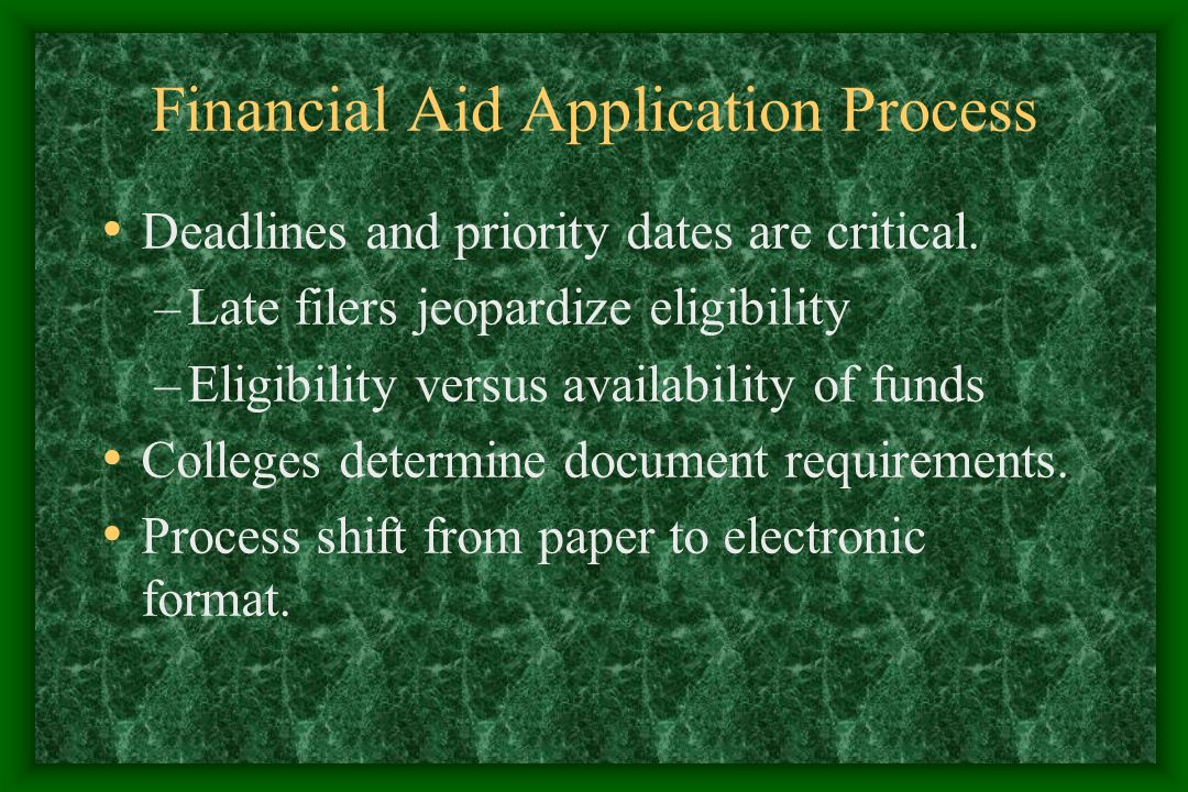Free Application for Federal Student Aid.Paper or web – based format.