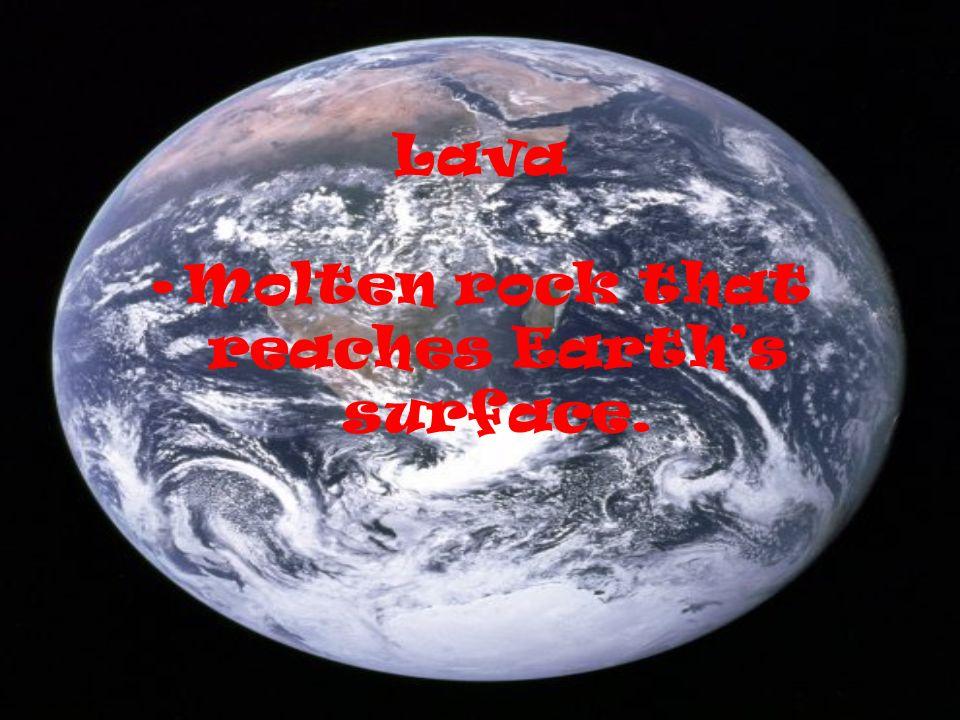 Lava Molten rock that reaches Earths surface.