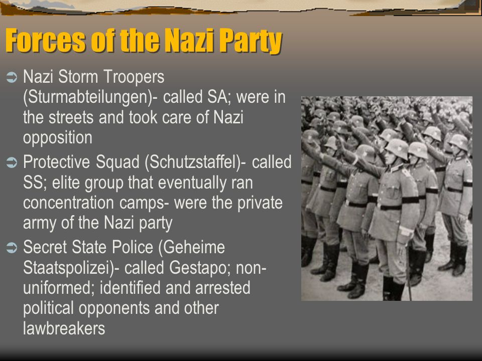 Forces of the Nazi Party Nazi Storm Troopers (Sturmabteilungen)- called SA; were in the streets and took care of Nazi opposition Protective Squad (Sch