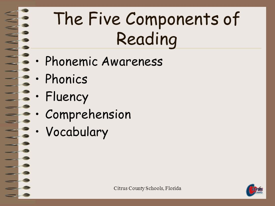 Citrus County Schools, Florida6 The Five Components of Reading Phonemic Awareness Phonics Fluency Comprehension Vocabulary