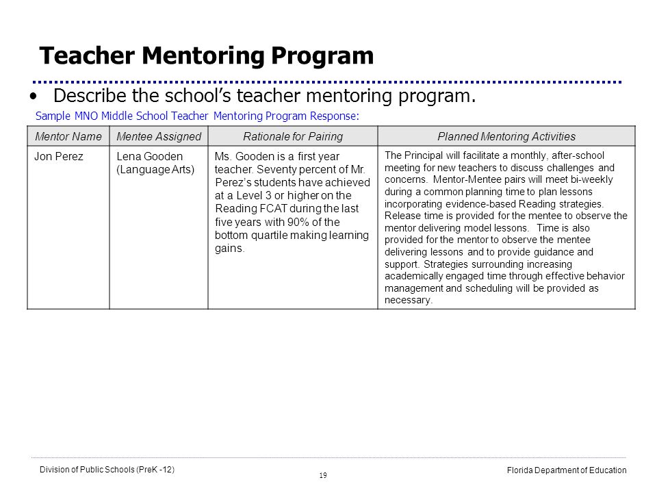 19 Division of Public Schools (PreK -12) Florida Department of Education Teacher Mentoring Program Describe the schools teacher mentoring program. Sam